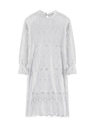 Damen A-Linie Kleid-Lässig/Alltäglich Einfach Solide Rundhalsausschnitt Übers Knie ½ Länge Ärmel Weiß Schwarz Baumwolle Sommer Herbst