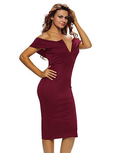 女性用 ボディコン ドレス ソリッド ハイライズ オフショルダー