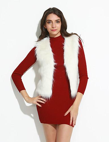 voordelige Damesjassen & trenchcoats-Dames Dagelijks Vintage Grote maten Vest, Effen Imitatiebont Wit / Zwart / Kameel