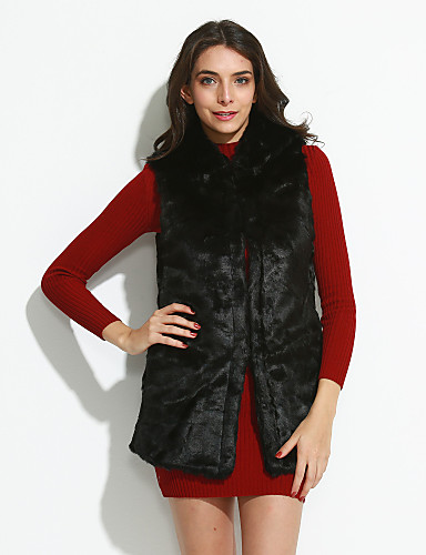 Women's Going out Fur Coat,Solid Sleeveless Winter Faux Fur