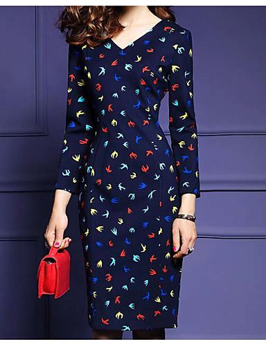 Damen Bodycon Kleid-Lässig/Alltäglich Einfach Blumen Druck V-Ausschnitt Knielang Langarm Mehrfarbig Baumwolle Herbst WinterMittlere