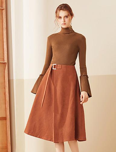 Damen Alltag Midi Röcke A-Linie, Polyester Solide Frühling Herbst