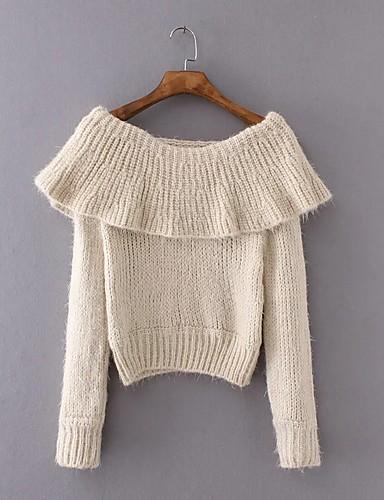 Damen Standard Pullover-Ausgehen Lässig/Alltäglich Einfach Street Schick Solide Bateau Langarm Acryl Polyester Elasthan Herbst Winter
