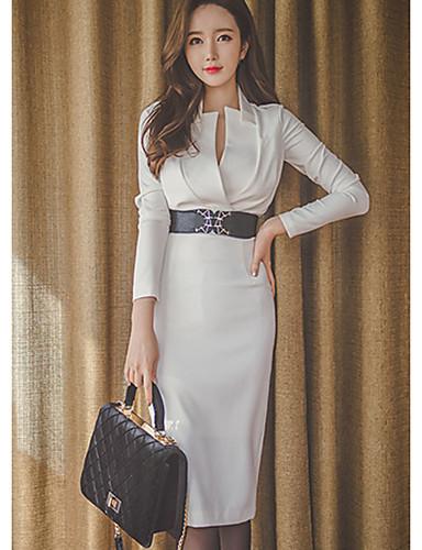 Damen A-Linie Bodycon Kleid-Lässig/Alltäglich Sexy Solide V-Ausschnitt Übers Knie Langarm Baumwolle Herbst Mittlere Hüfthöhe