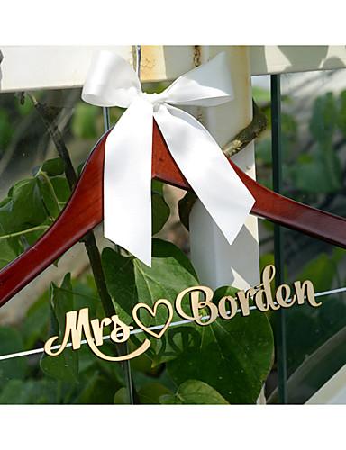 Hochzeitsnamen-Hochzeitskleiderbügel des personalisierten Hochzeitshängers Holz