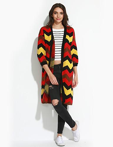 Dames Casual/Dagelijks Eenvoudig Lang Vest Gestreept-Ronde hals Lange mouw Katoen Herfst Dun Micro-elastisch