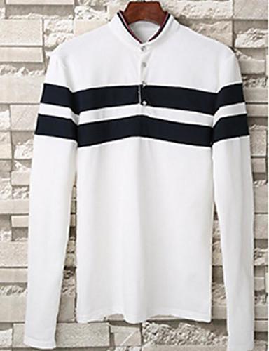 Herren Solide Einfach Ausgehen T-shirt,Rundhalsausschnitt Winter Langarm Weiß Baumwolle Mittel