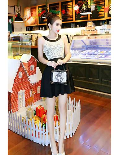 Damen Hülle Kleid-Ausgehen Einfach Solide Rundhalsausschnitt Mini Ärmellos Baumwolle Sommer Mittlere Hüfthöhe Mikro-elastisch Mittel