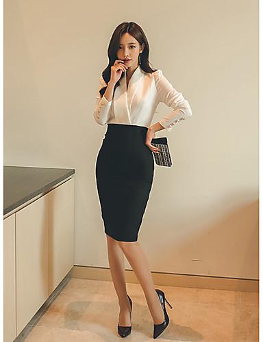Damen Bodycon Kleid-Lässig/Alltäglich Einfach Solide Hemdkragen Übers Knie Langarm Schwarz Baumwolle Herbst Mittlere Hüfthöhe