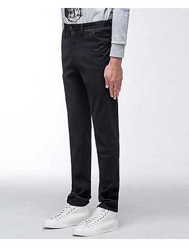 Herren Extraklein Skinny Chinos Hose-Lässig/Alltäglich Einfach einfarbig Mittlere Hüfthöhe Reisverschluss Baumwolle Micro-elastisch Herbst