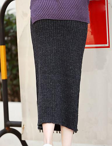 Damen Röcke,Bodycon einfarbigAusgehen Hohe Hüfthöhe Midi Elastizität Baumwolle Micro-elastisch Herbst