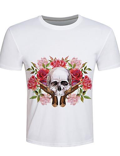 Herren Druck Einfach Aktiv Punk & Gothic Ausgehen Lässig/Alltäglich Urlaub T-shirt,Rundhalsausschnitt Kurzarm Weiß Baumwolle Elasthan