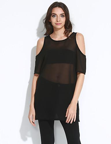 Kadın Büyük Beden Günlük/Sade Sade Sokak Şıklığı Salaş Elbise Solid,Kısa Kollu Yuvarlak Yaka Mini Polyester Yaz Mikro-Esnek İnce