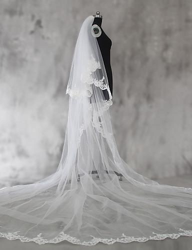 Two-tier Lace Applique Edge الحجاب الزفاف Shoulder Veils / Elbow Veils / Fingertip Veils مع ترتر / زينة دانتيل / تول / Angel cut / Waterfall