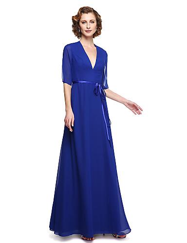Linha A Decote V Longo Chiffon Vestido Para Mãe dos Noivos  -  Faixa / Fita de LAN TING BRIDE®