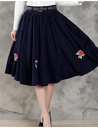 Damen Röcke,A-Linie einfarbigLässig/Alltäglich Mittlere Hüfthöhe Mini Elastizität Polyester Micro-elastisch Sommer