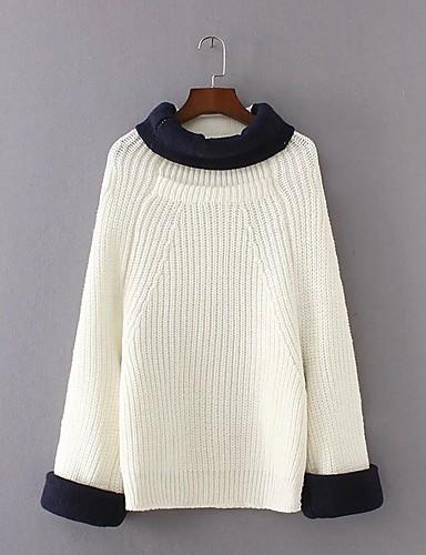 Damen Standard Pullover-Ausgehen Lässig/Alltäglich Einfach Street Schick Einfarbig Rollkragen Langarm Acryl Polyester ElasthanHerbst