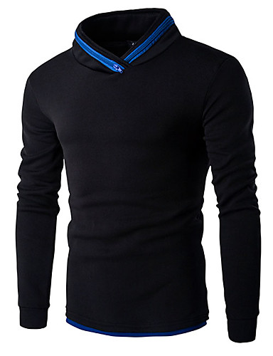 Herren Pullover Lässig/Alltäglich Einfach Einfarbig Ständer Mikro-elastisch Baumwolle Lange Ärmel Herbst