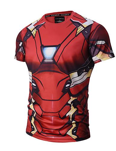 Hombre Activo Punk & Gótico Deportes Estampado - Algodón Camiseta, Escote Redondo