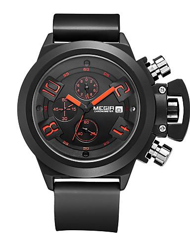 MEGIR Herre Quartz Digital Armbåndsur Militærklokke Sportsklokke Kalender Kronograf Vannavvisende Silikon Band Sjarm Fritid