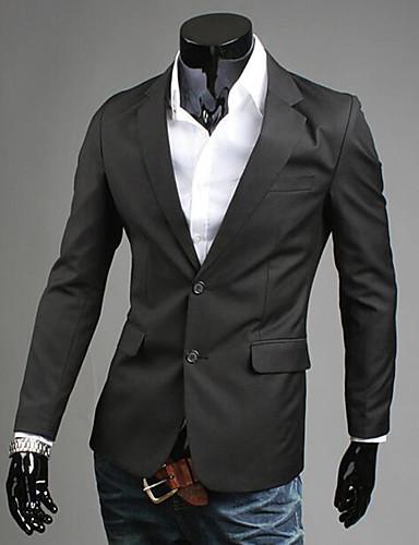 男性 カジュアル/普段着 お出かけ 春 秋 ブレザー,ストリートファッション シャツカラー ソリッド ブルー ブラック グレイ イエロー コットン 長袖