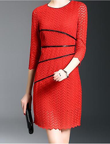 Damen Bodycon Kleid-Lässig/Alltäglich Einfach Solide Rundhalsausschnitt Übers Knie ¾-Arm Modal Frühling Mittlere Hüfthöhe Mikro-elastisch