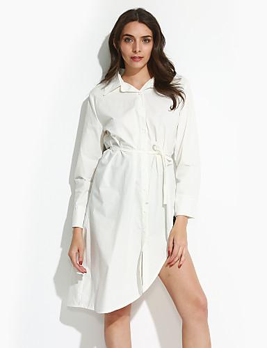 66c776414809 Γυναικεία Μεγάλα Μεγέθη Κομψό στυλ street Βαμβάκι Πουκάμισο Φόρεμα -  Μονόχρωμο