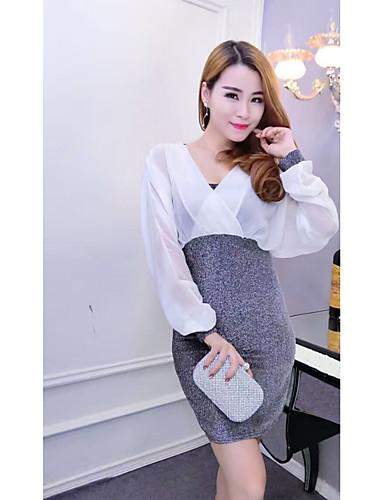 Damen Bodycon Kleid-Ausgehen Sexy Solide V-Ausschnitt Midi Langarm Baumwolle Frühling Tiefe Hüfthöhe Mikro-elastisch Mittel