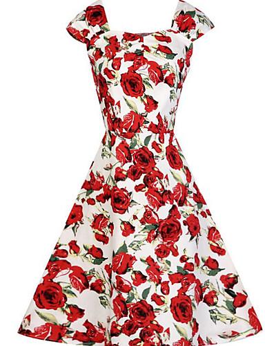 Damen Hülle Swing Kleid-Ausgehen Retro Blumen U-Ausschnitt Knielang Kurzarm Baumwolle Sommer Hohe Hüfthöhe Unelastisch Mittel