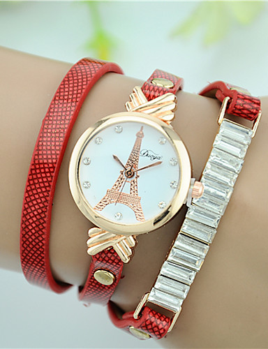 Mujer Reloj Pulsera La imitación de diamante Piel Banda Torre Eiffel / Moda / Reloj de diamantes simulado Negro / Blanco / Rojo / Un año / Tianqiu 377