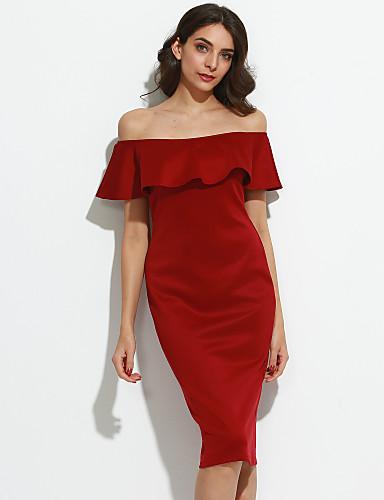Damskie Bodycon Sukienka - Jendolity kolor, Falbany Z odsłoniętymi ramionami