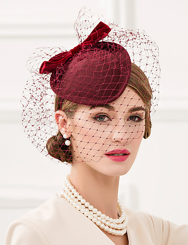 billige Hatte & Imponeringer-Ull / Nett / Fløyel Kentucky Derby Hat / fascinators / Hodeplagg med Blomster 1pc Bryllup / Spesiell Leilighet / Avslappet Hodeplagg