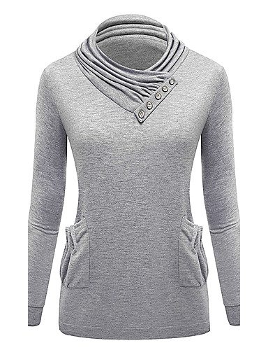 Damen Pullover Lässig/Alltäglich Einfach Solide Rundhalsausschnitt Mikro-elastisch Baumwolle Lange Ärmel Herbst