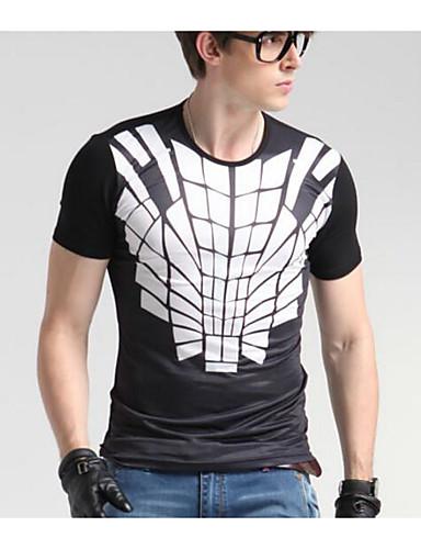 Herren Solide Geometrisch Einfach Lässig/Alltäglich T-shirt,Rundhalsausschnitt Frühling Herbst Kurzarm Baumwolle