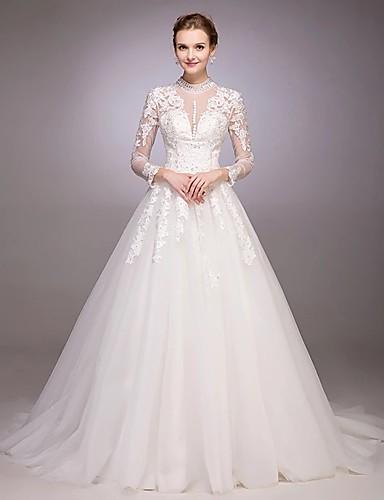 Linha A / Princesa Decorado com Bijuteria Cauda Capela Renda sobre Tule Vestidos de casamento feitos à medida com Miçangas / Apliques de