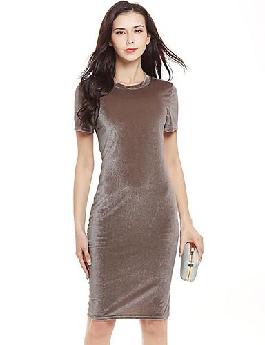 abordables Robes Femme-Femme Moulante Robe Couleur Pleine Taille Haute Mini Au dessus du genou