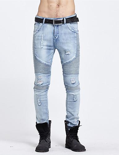 Herre Bomull Rett Jeans Bukser Ensfarget