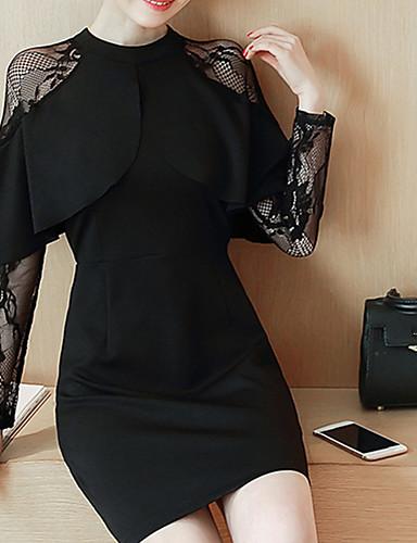 Mulheres Rendas Chifon Vestido - Renda, Sólido Retalhos