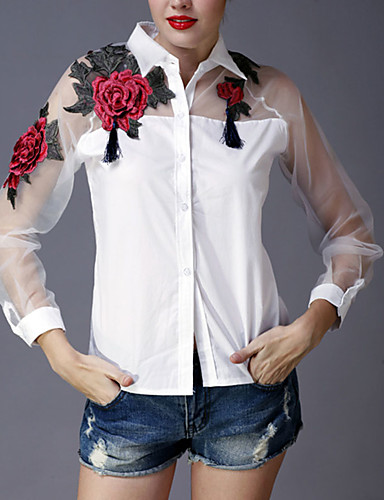 billige Dametopper-Skjortekrage Skjorte Dame - Broderi Sofistikert Ut på byen Svart / Vår / Sommer