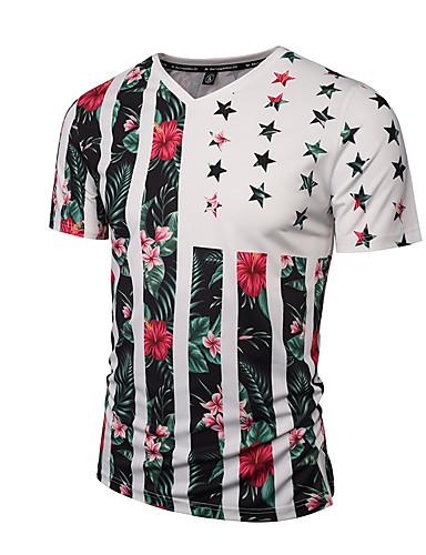 Bomull V-hals T-skjorte Herre - Stripet / Blomstret, Trykt mønster Aktiv / Gatemote / Punk & Gotisk Fest / Sport / Klubb / Kortermet