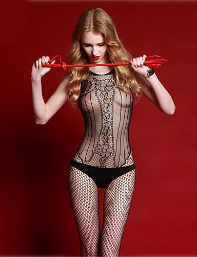 Harisnyakötős fehérnemű Ultra szexi Teddy Hálóruha Női - Egyszínű Nejlon Fekete
