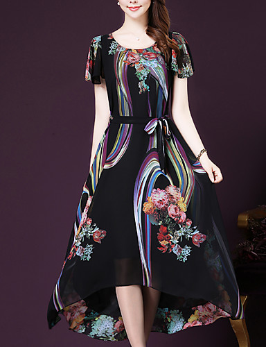 Women's Plus Size Going out / Weekend Sophisticated Loose / Swing Dress Print / Summer
