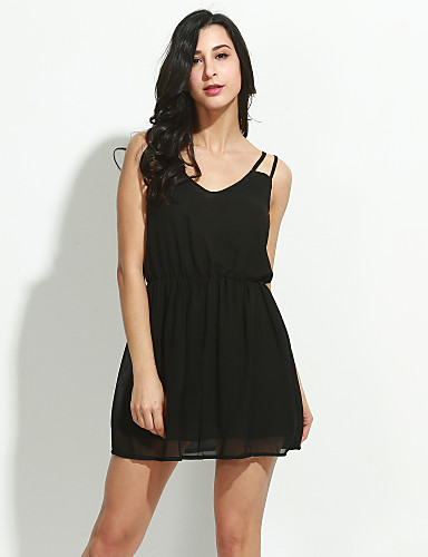 Women's A Line Dress - Solid Colored, Pleated High Rise Mini V Neck Strap