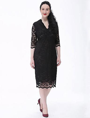 hesapli Büyük Beden Elbiseleri-Kadın's Büyük Bedenler Vintage Dantel Elbise - Solid, Dantel V Yaka Diz-boyu