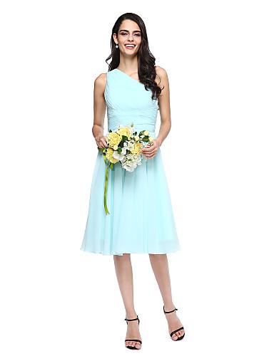 billige Korte brudepikekjoler-A-linje Enskuldret Knelang Chiffon Brudepikekjole med Sidedrapering av LAN TING BRIDE®