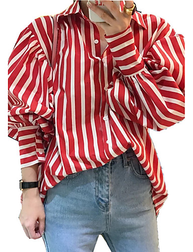 Women's Going out / Work / Club Vintage / Street chic / Sophisticated Puff Sleeve Shirt - Striped Shirt Collar / Fine Stripe