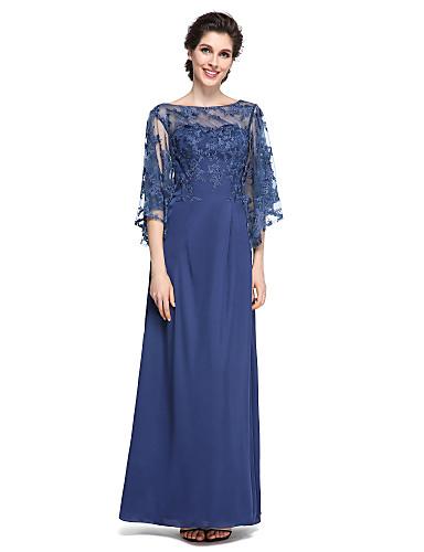 voordelige Wrap Dresses-Strak / kolom Bateau Neck Tot de enkel Chiffon / Kant Bruidsmoederjurken met Kant door LAN TING BRIDE® / See Through