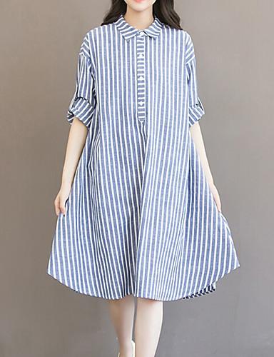 billige Kjoler-Dame Store størrelser Ut på byen Bomull Løstsittende Kjole - Stripet Skjortekrage Asymmetrisk