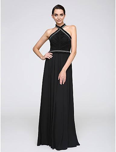 Sütun Boyundan Bağlamalı Yere Kadar Şifon Tema / Baskı Püskül(ler) ile Resmi Akşam Elbise tarafından TS Couture®