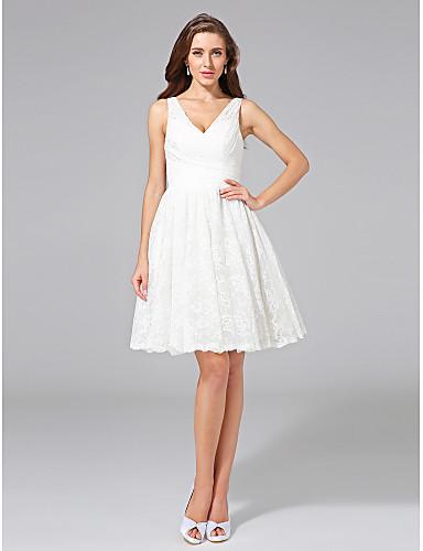 Linha A Decote V Até os Joelhos All Over Floral Lace Vestidos de noiva personalizados com Cruzado de LAN TING BRIDE®